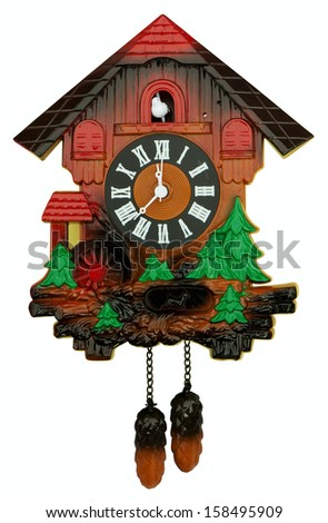 Old cuckoo clock isolated on white. Clipping path included. - stock photo