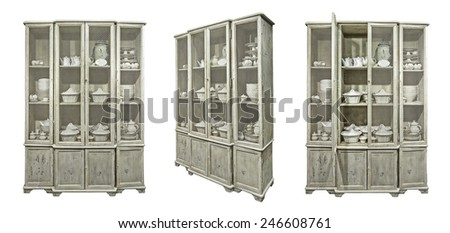 Old cupboard isolated on white.  - stock photo