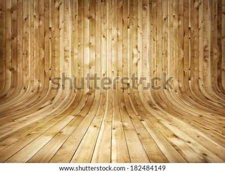 Old curved wooden background Grungy old curved wooden interior - stock photo