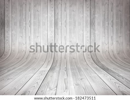 Old curved wooden background Grungy old curved wooden interior, white - stock photo