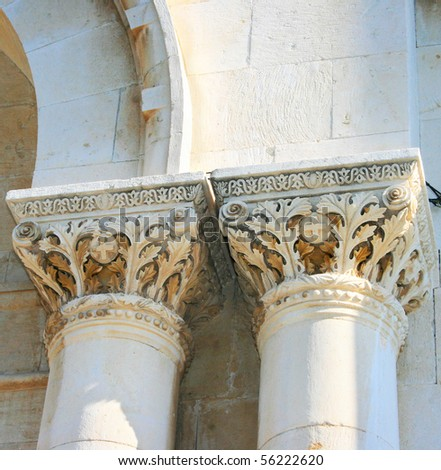 Old Cyprus church columns with ornaments.