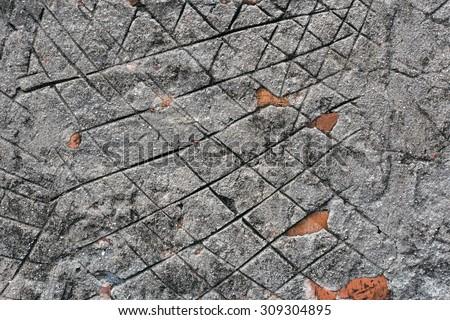Old damaged aged Brick wall close up backdrop - stock photo