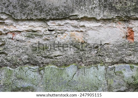 Old damaged and weathered cellar wall texture - stock photo