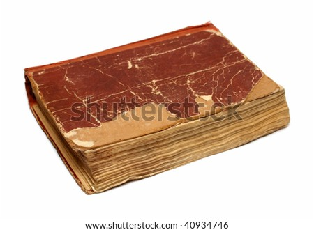 old damaged battered book on white background