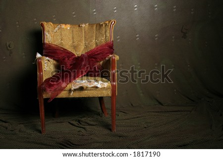 Old damaged chair gift wrapped