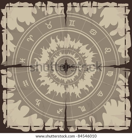 Old damaged paper with zodiac symbols. Raster version of the illustration. - stock photo