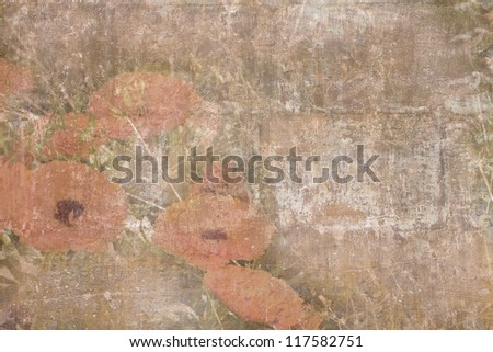 Old damaged texture with orange flowers - stock photo