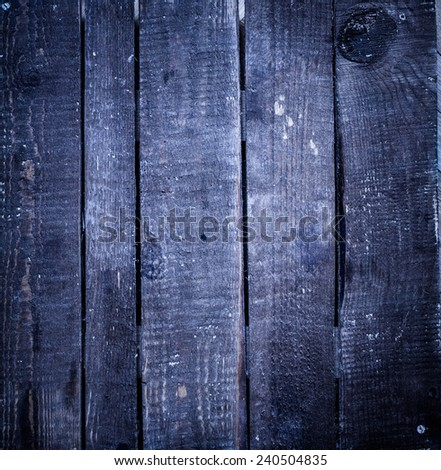 Old  dark blue   grunge wood background with knots and scratches. Rustic weathered Wooden  plank texture of bark natural background, square format  - stock photo