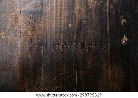Old dark brown wooden texture background - stock photo