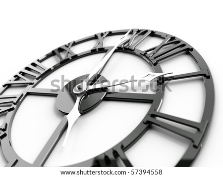 old dark metallic clock on a white background - stock photo