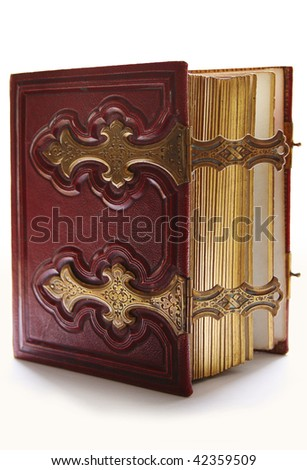 Old dark red antique book, with golden clasp and pages - stock photo