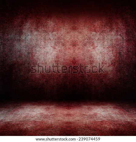 Old dark red blood stain grunge room wall background. - stock photo