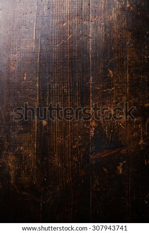 Old dark scratched wooden texture background - stock photo