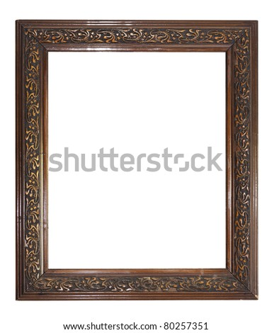 old dark wooden picture frame See my portfolio for more - stock photo