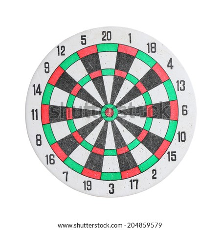 Old darts board isolated on white background.