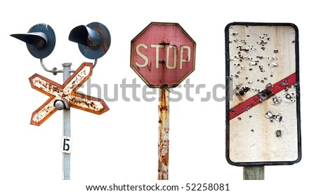 Old decayed railway signs isolated on the white - stock photo