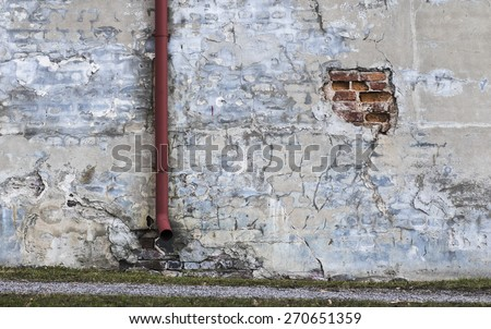 Old decayed wall - stock photo