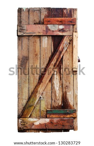 Old decayed wooden door. Isolated on white with clipping path - stock photo