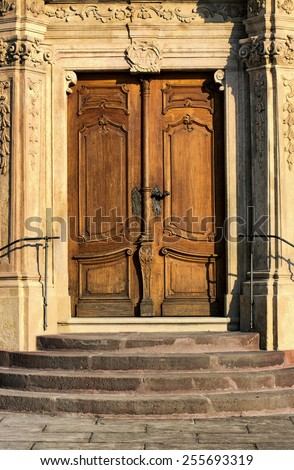 Old decorated door of Benedictine Abbey in Tihany, Hungary - stock photo