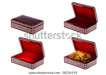 Old decorative casket with ornament opened and closed isolated on white - stock photo