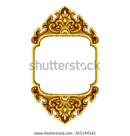 old decorative frame antique engraved gold background isolated on white background - stock photo