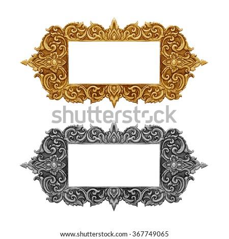 old decorative frame - handmade, engraved - isolated on white background - stock photo