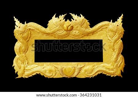 old decorative gold frame - handmade, engraved - isolated on black background - stock photo