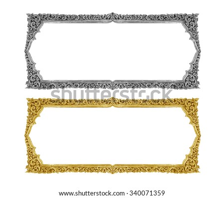 old decorative gold frame handmade engraved isolated on white background