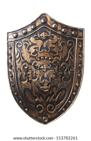 Old decorative shield isolated over white - stock photo