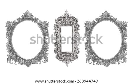 old decorative silver frame handmade engraved isolated on white background