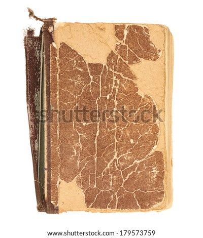 Old decrepit book cover isolated over white background