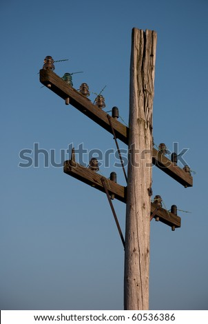 Old decrepit wooden telephone pole against a gradient blue sky. - stock photo