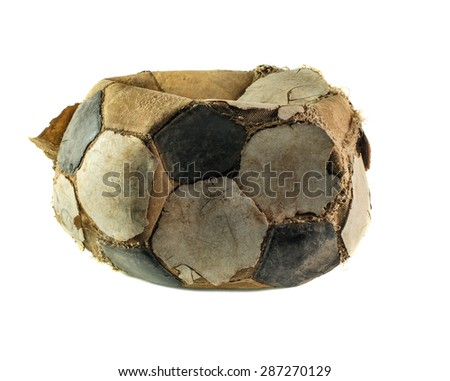 old deflated soccer ball isolated on white - stock photo