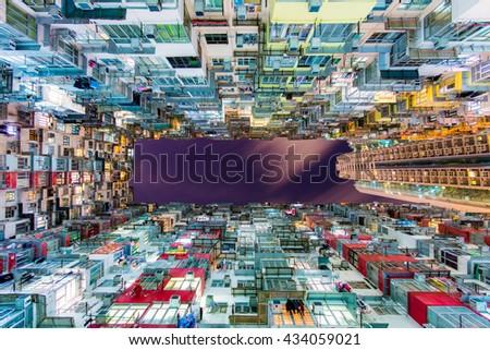 Old dense building at hong kong - stock photo