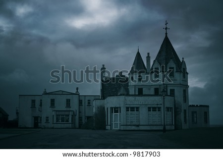 Old derelict hotel at John O' Groats, Scotland