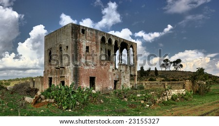 old deserted house - stock photo