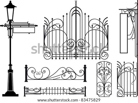 Old design elements of city streets. Silhouettes isolated on white Raster version - stock photo