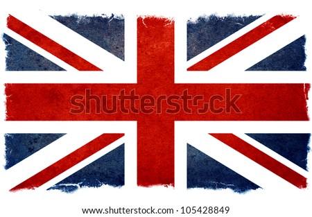 old designed grunge british flag - stock photo