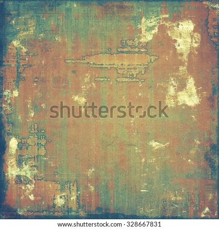 Old designed texture as abstract grunge background. With different color patterns: yellow (beige); brown; blue; green - stock photo