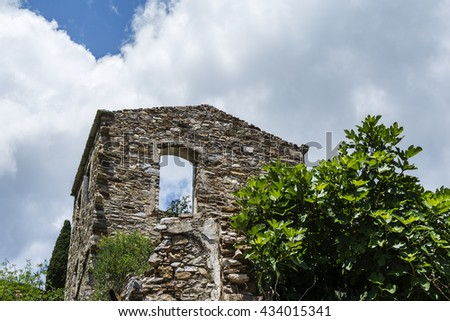 Old destroyed mediterranean stone house