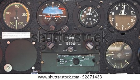 Old device in the pilot cockpit - stock photo