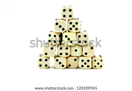Old dice is made of plastic. - stock photo