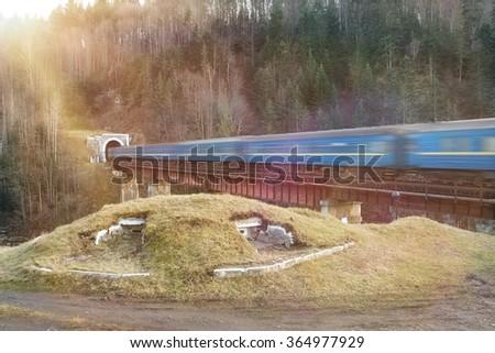 Old diesel passenger train in tunnel. Train in motion. Mountain railroad in Yaremche, Ukraine - stock photo