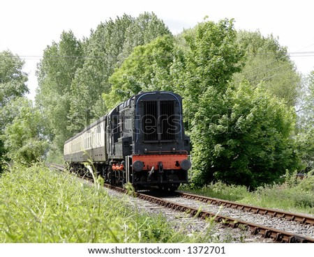 Old Diesel Train on a rural track in England