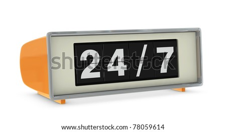 old digital clock indicating 24/7 availability (3d render) - stock photo