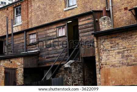 Old Dirty Brick Wall Facade, House In The Sydney City Center, Australia