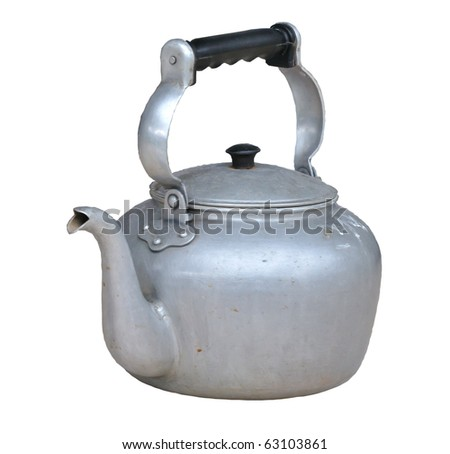 Old dirty classic kettle on white background - stock photo