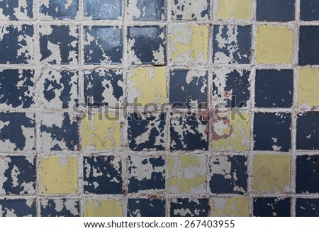 Old dirty colorful tile background. Close-up. Texture - stock photo