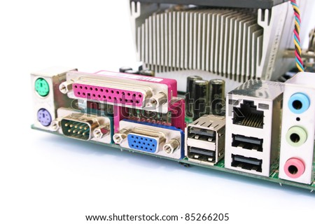 Old dirty computer motherboard isolated on white background. - stock photo
