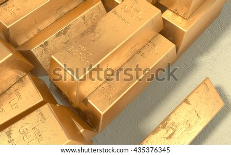 Old dirty fine gold bars. 3D illustration. - stock photo